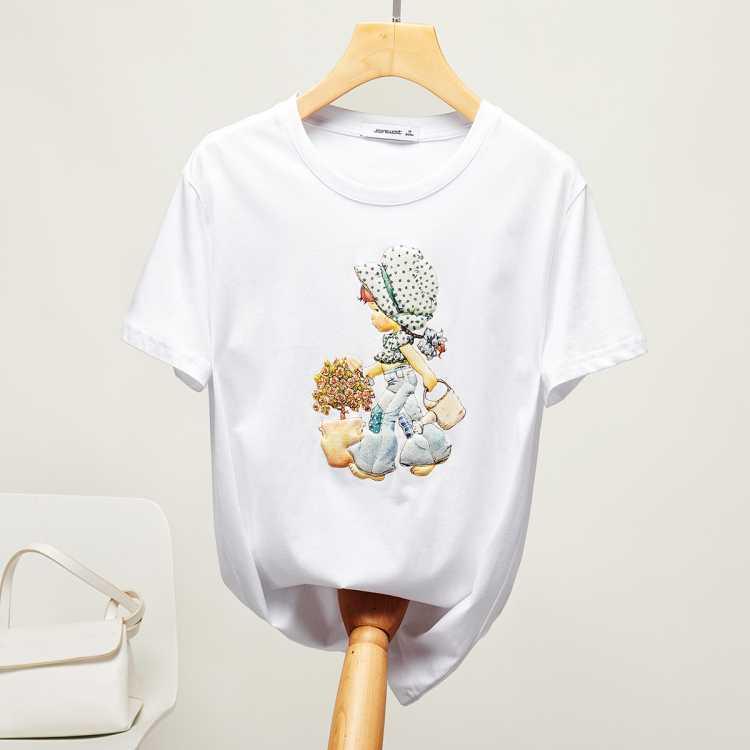 【2021夏新款短T】时尚女款可爱印花圆领女款短袖T恤