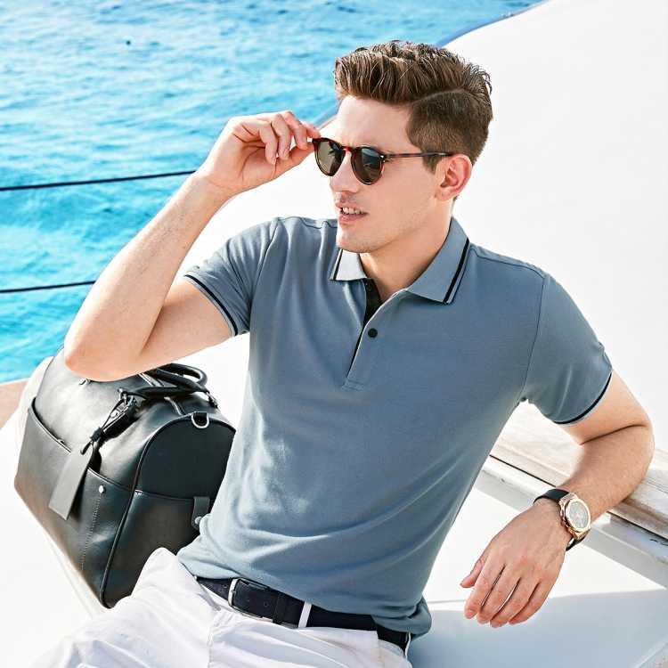 【透气珠地棉】夏装轻薄纯色休闲男式t恤男士polo衫短袖
