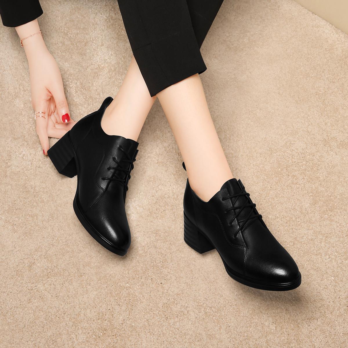 【头层牛皮】新款女鞋时尚百搭英伦皮鞋优雅气质粗跟女单鞋
