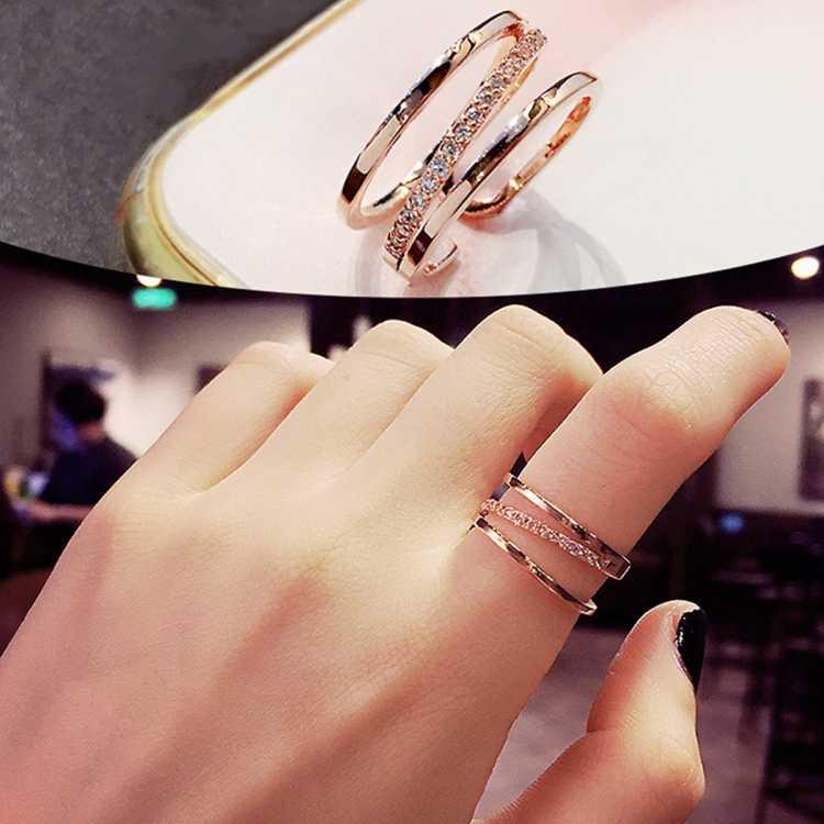 芭莎【姐姐同款】开口食指戒指女单身指环小尾戒韩版网红情侣