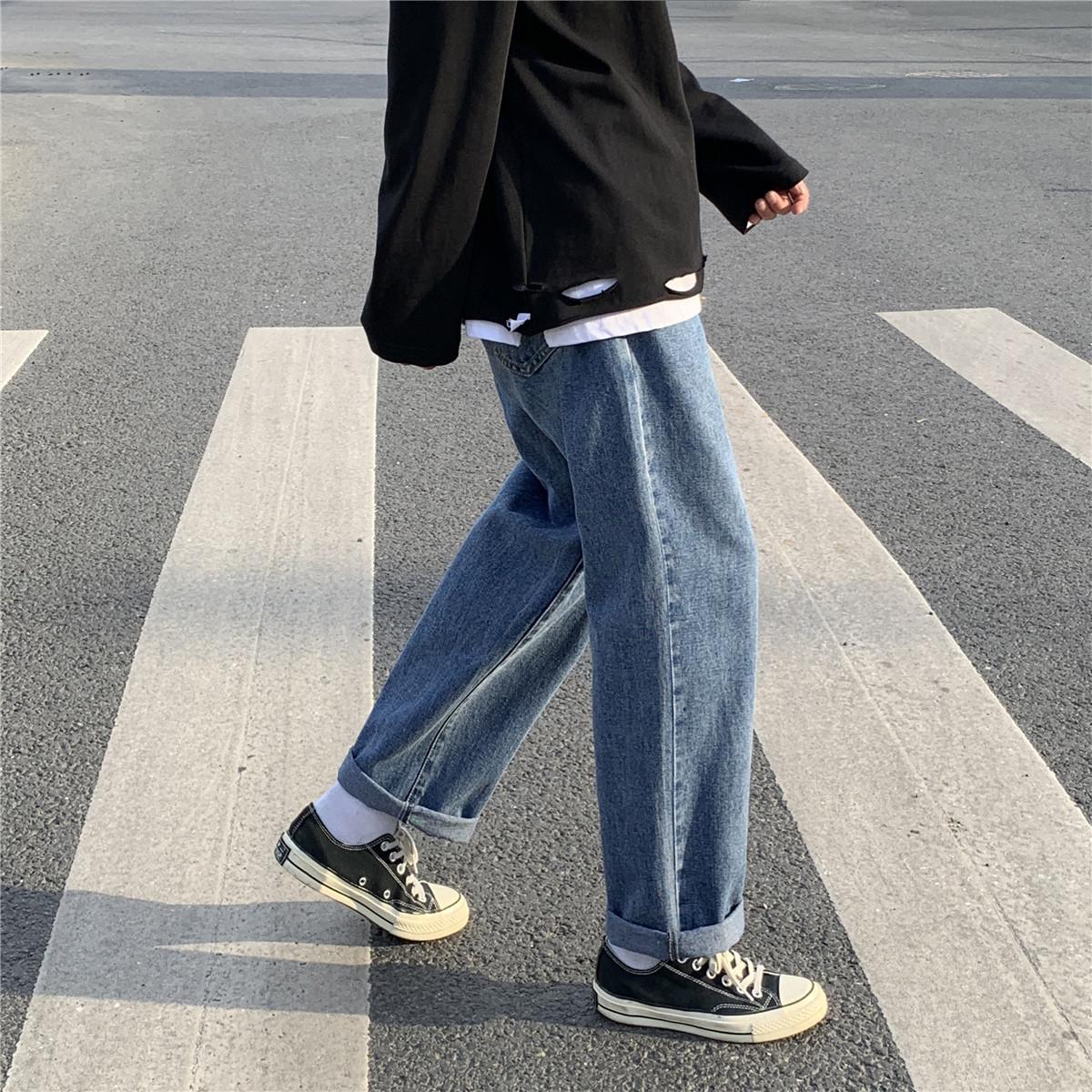 拉夏贝尔男装男士牛仔裤韩版潮流百搭秋冬季直筒宽松男式阔腿长裤