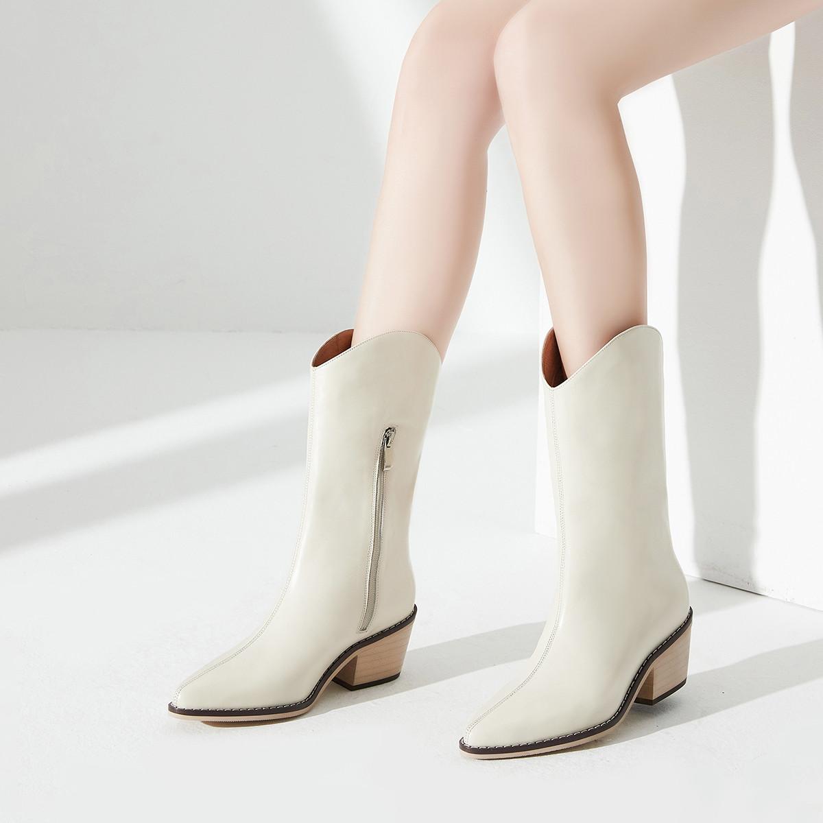 头层牛皮20冬季新款女鞋粗跟靴子女靴中筒皮靴烟筒靴骑士靴女