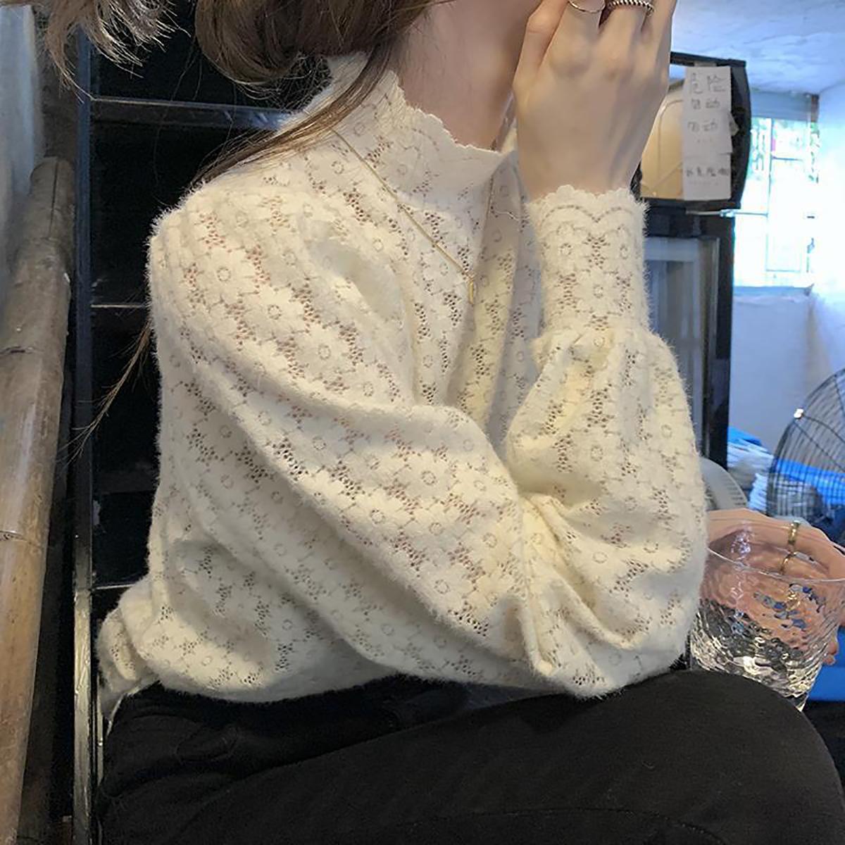 【了不起的女孩】时尚磨毛蕾丝钩花半高领长袖打底内搭针织衫