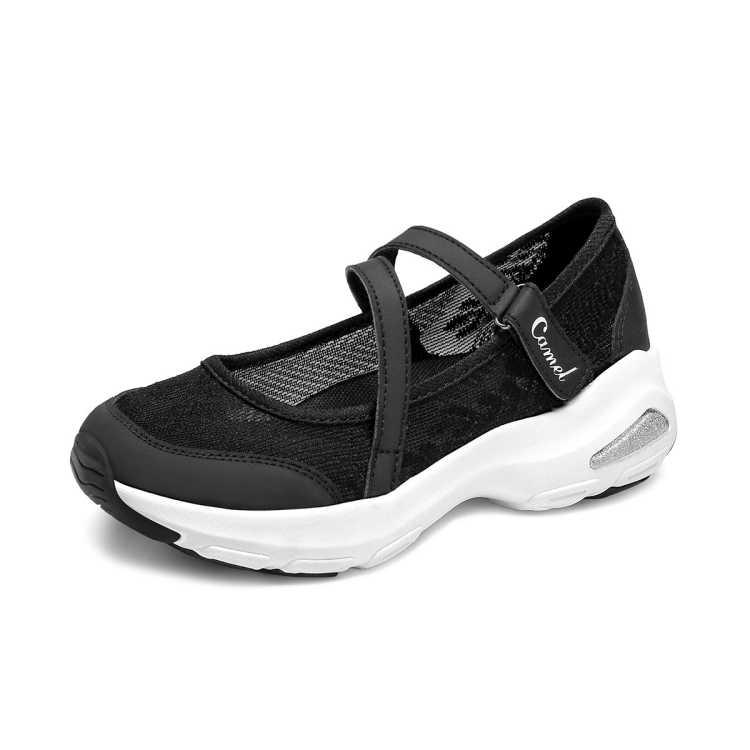 骆驼女鞋【清凉透网】2021春季新款一脚蹬单鞋女休闲鞋女