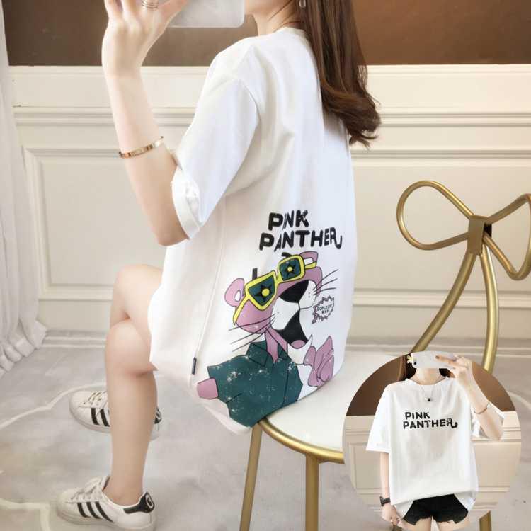 【口碑爆款】夏季新品动漫龟裂印花闺蜜宽松T恤裙短袖女式T恤