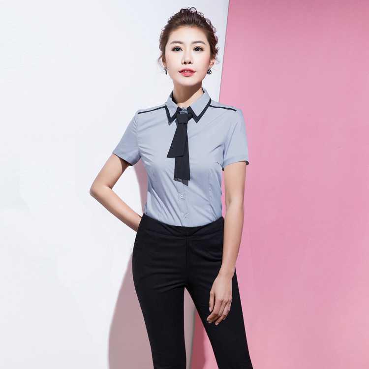 【衬衫+裤子】新款职业通勤工装衬衫显瘦修身休闲女裤短袖套装女