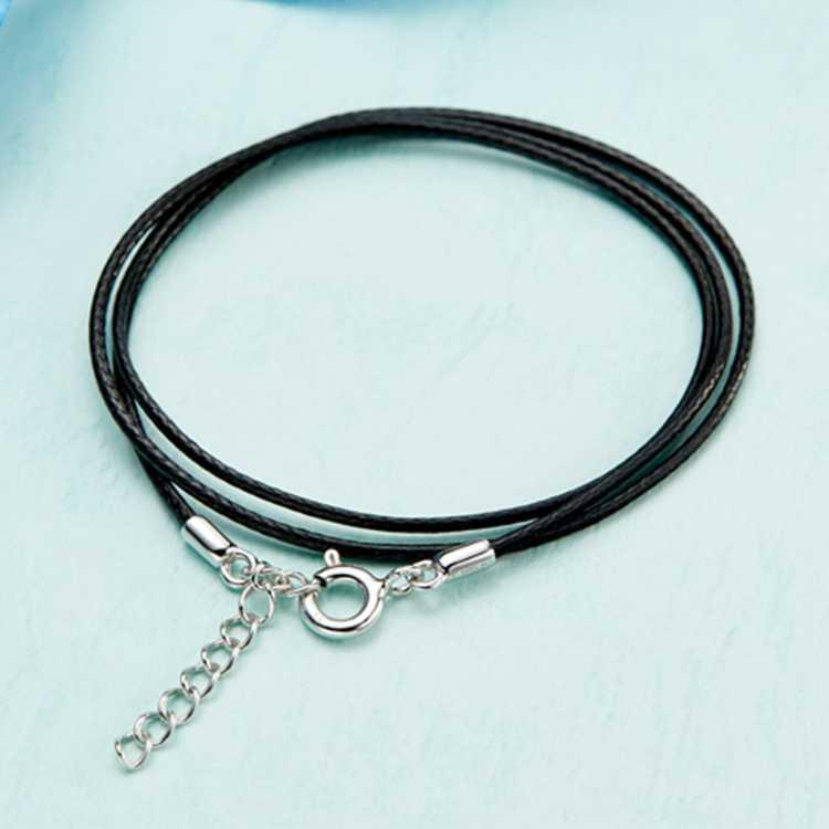 周大福 气质多彩绳细黑绳925银扣项链