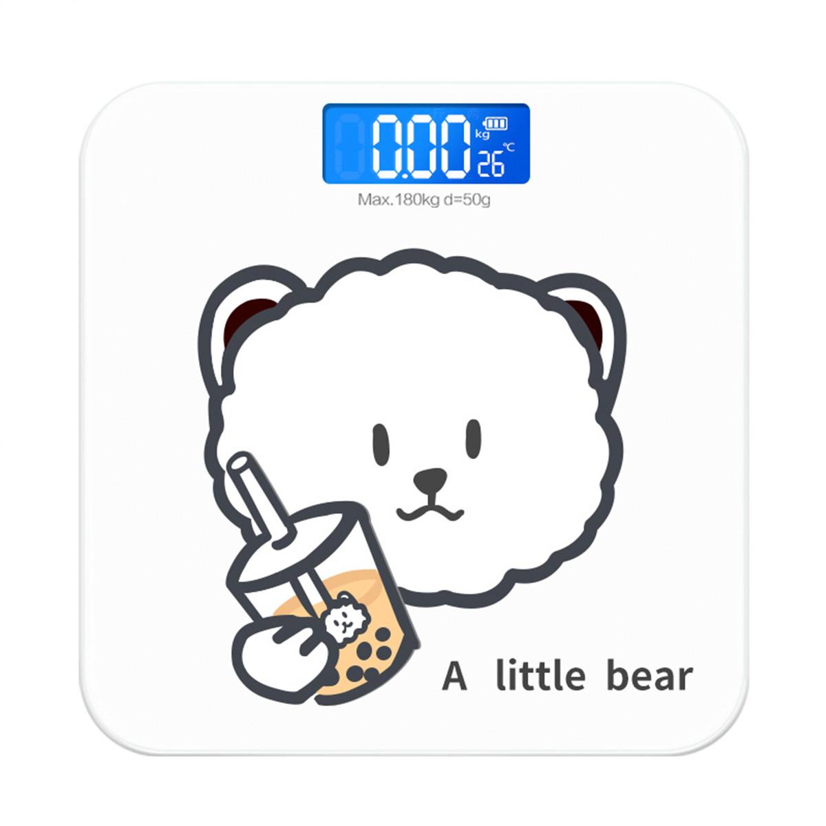 体重秤电子秤卡通奶茶熊可充电人体秤称重精准健康秤测温体重秤