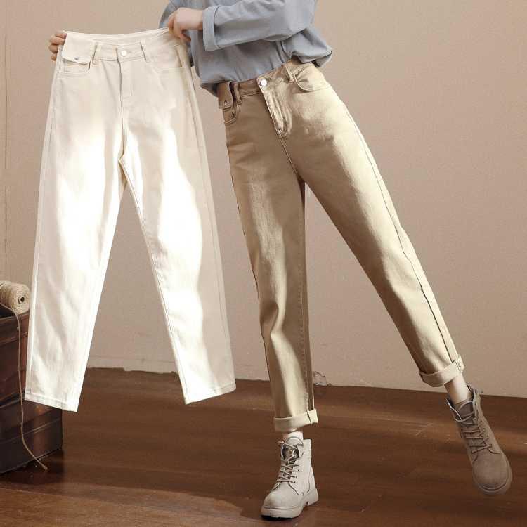 高腰白色老爹牛仔裤女春新款时尚腰包小脚奶奶裤翻边九分哈伦裤子