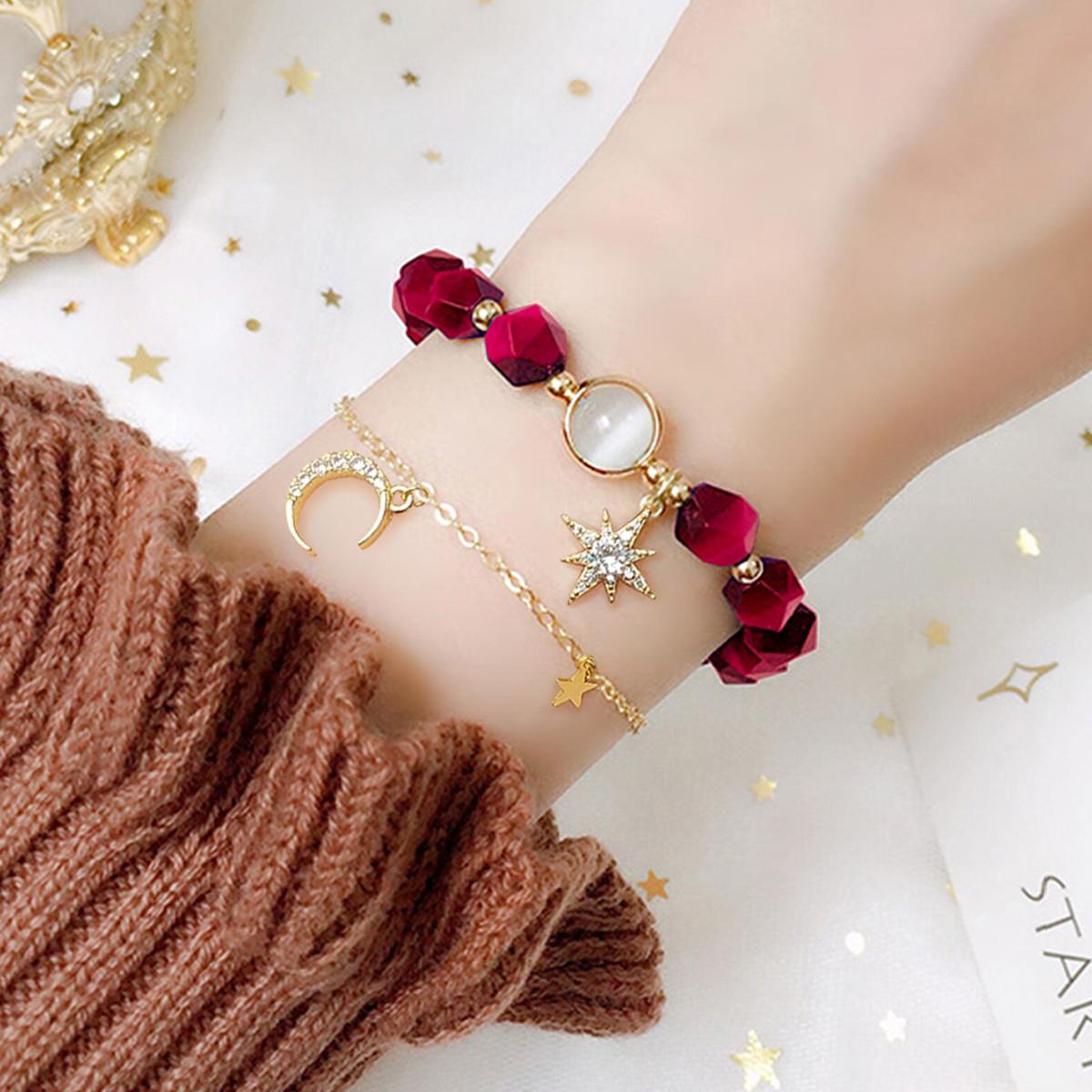【二件装】时尚天然虎眼石S925银星月童话手链饰品女友礼物