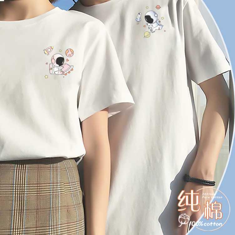 【100%纯棉】女式短袖t恤情侣款潮流网红ins风半袖t恤女