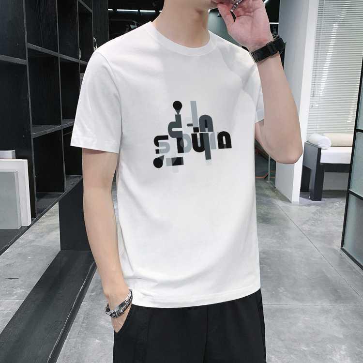 【爆款好货】100%棉夏季休闲舒适百搭字母潮流短袖男式T恤