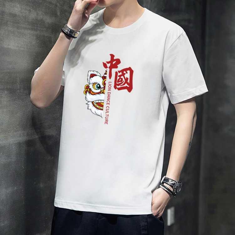 【国潮元素】100%棉夏季新款国潮风简约短袖男t百搭男式t恤