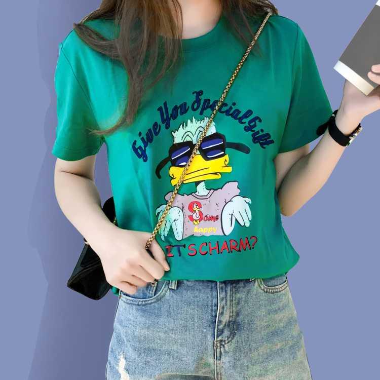 【纯棉印花】拉夏贝尔旗下新款女款圆领女上衣印花短袖时尚T恤