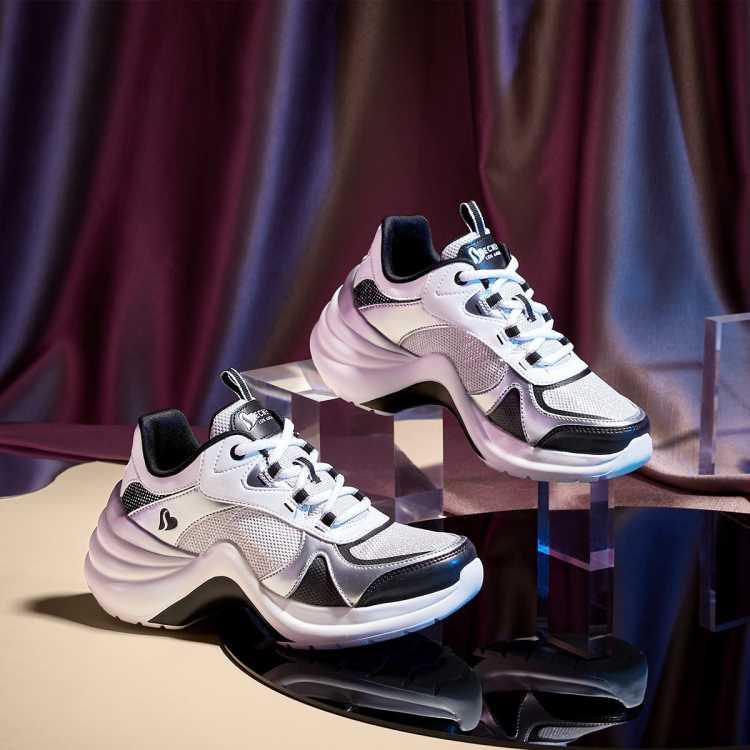 春季新款运动低帮厚底拼接系带女老爹鞋女休闲鞋女鞋子