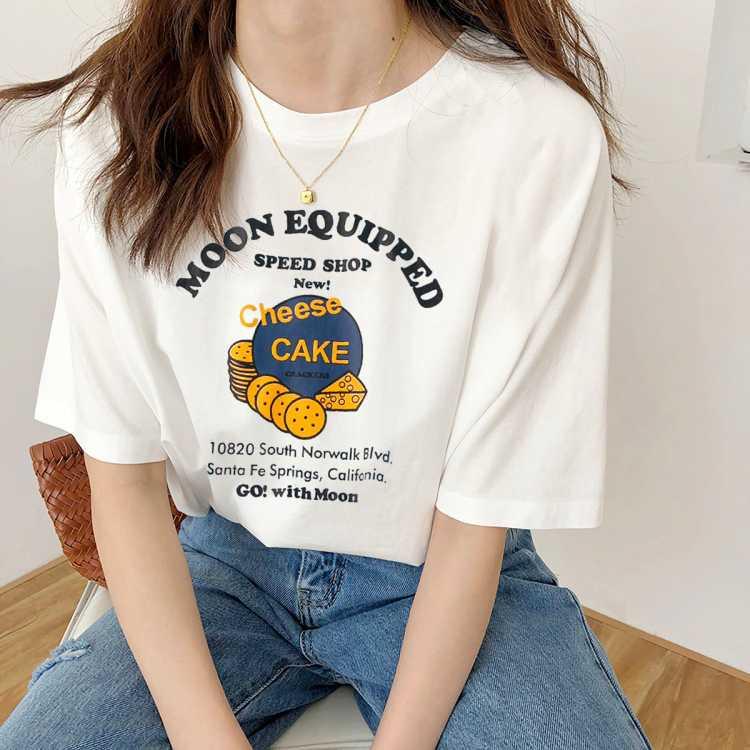 港味复古短袖印花T恤女拉夏贝尔旗下2021夏季新款纯棉休闲T