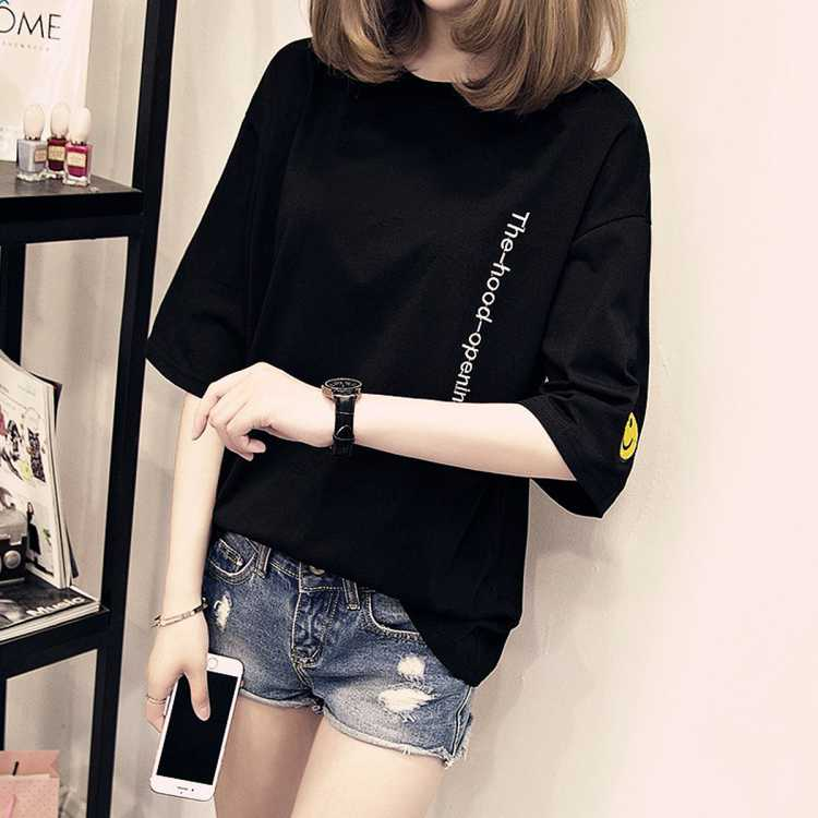 拉夏贝尔旗下春夏女款笑脸刺绣短袖t恤女式宽松纯棉圆领T恤