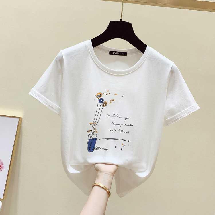 Puella 拉夏贝尔旗下2021春季新品女款印花T恤纯棉圆领短袖上衣