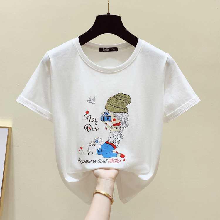 拉夏贝尔旗下纯棉春夏新品潮流时尚韩版女款休闲印花短袖T恤