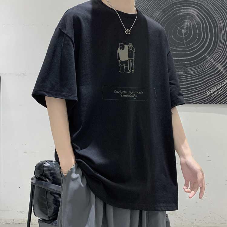 【100%棉】男士t恤夏季潮流短袖情侣宽松大码打底衫潮牌上衣